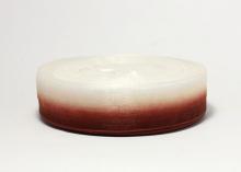 Органза градиент бело-бордовая. 25 мм