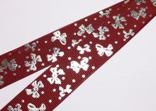 Репсовая лента темно-красная, бантик серебро. 25 мм