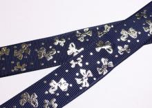 Репсовая лента темно-синяя, бантики серебро. 25 мм
