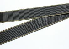 Репсовая с люрексом Золото, Черная 030, 25 мм