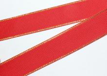 Репсовая с люрексом Золото, Красная 250, 25 мм