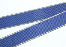 Репсовая с люрексом Золото, Темно-синий 370, 25 мм