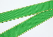 Репсовая с люрексом Золото, Зеленый 580, 25 мм