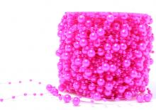 Бусины на леске 3 и 8 мм. Ярко-розовые