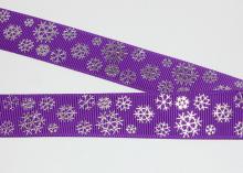 Репс фиолетовый, снежинки серебро, 22 мм