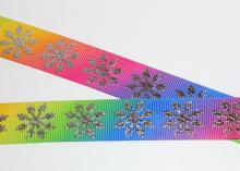 Лента репсовая Снежинки серебро радуга, 22 мм