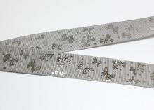 Репсовая лента Серая, бантики серебро. 25 мм