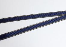 Лента репсовая с люрексом ЗОЛОТО, 9 мм. темно-синий-370
