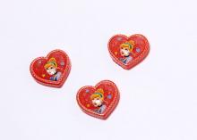 Кабошон Сердце принцесса красный, 20х18 мм