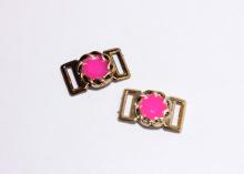 Пряжка кольцо ажурное, ярко-розовая, 23х24 мм