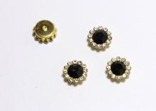 Кабошон Флоризель пришивной, Черный-золото, 12 мм