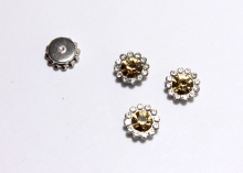 Кабошон Флоризель пришивной, Желтый-серебро, 12 мм