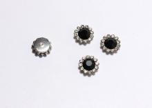 Кабошон Флоризель пришивной, Черный-серебро, 12 мм