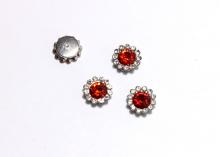 Кабошон Флоризель пришивной, Красный-серебро, 12 мм