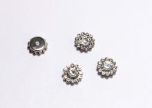 Кабошон Флоризель пришивной, Серебро-прозрачный, 10 мм