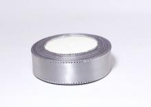 Атласная лента с люрексом серебро 25мм, светло-серая