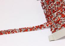 Лента стразы стекло на силиконе, Красная, 1 см