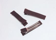 Зажим металл+ткань, 5 см, коричневый