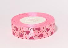 Лента атласная, Сердечки на розовом, 25 мм