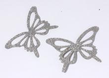 Бабочка фетр глиттер, 65х43 мм, Серая