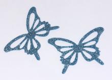 Бабочка фетр глиттер, 65х43 мм, Голубая