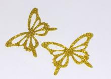 Бабочка фетр глиттер, 65х43 мм, Золото