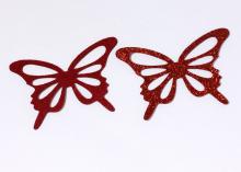 Бабочка фетр глиттер, 65х43 мм, Красная