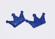 Патч с блестками Корона 4*2,7 см Синяя