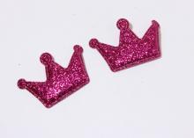 Патч с блестками Корона 4*2,7 см Ярко-Розовая