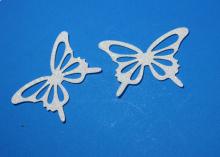 Бабочка фетр глиттер, 65х43 мм, Белая