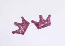 Патч с блестками Корона 4*2,7 см Розовая