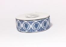 Репсовая лента Ученица камея, темно-синяя на белом, 25 мм