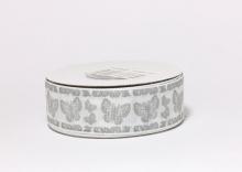 Репсовая лента Бабочка серая на белом, 25 мм