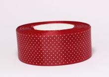 Репсовая лента горох мелкий на темно-красном2, 40 мм