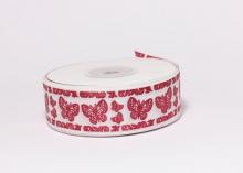 Репсовая лента Бабочка красная на белом, 25 мм