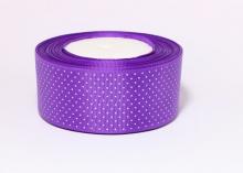 Репсовая лента горох мелкий на фиолетовом, 40 мм