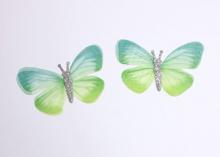 Бабочка шифон+глиттер, 50х40 мм, Зеленая