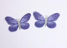 Бабочка шифон+глиттер, 50х40 мм, Темно-синяя