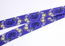 Репсовая лента Розочка бабочки на темно-синем, 25 мм