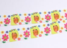 Репсовая лента Девочка желтая в цветах, 25 мм