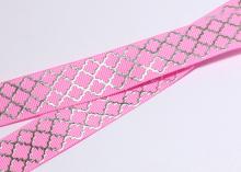 Репсовая лента Розовая, ромбы серебро. 22 мм