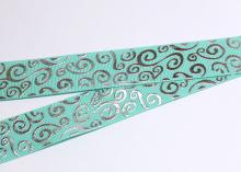 Репсовая лента Мятная Завитки круглые серебро, 25 мм