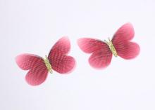 Бабочка шифон+глиттер, 50х40 мм, Темно-красная