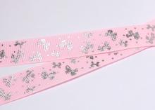 Репсовая лента Розовая, бантики серебро. 25 мм
