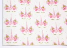 Кожа PU (иск.) Единороги розовые, 20х30 см (+/- 1 см)
