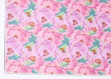 Кожа PU (иск.) Розы розово-голубые, 20х30 см (+/- 1 см)