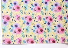 Кожа PU (иск.) Цветы сиренево - розовые, 20х30 см (+/- 1 см)