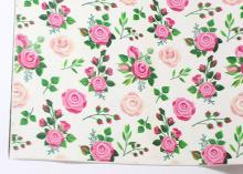Кожа PU (иск.) Розы бежевые и розовые, 20х30 см (+/- 1 см)