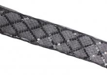 Лента капрон с пайетками 2-слойная, 38 мм, Черная