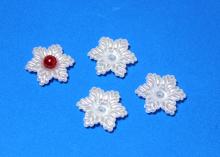 Кабошон пластиковый жемчужный, Цветок 6-листник, 20 мм
